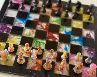 Custom Resin Rainbow Chess Set