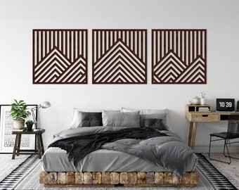 Bergen Triptych - Recycled Material - Acoustic Panels - Abstract - Geometric Design - PET-Felt - Living Room - Various Formats
