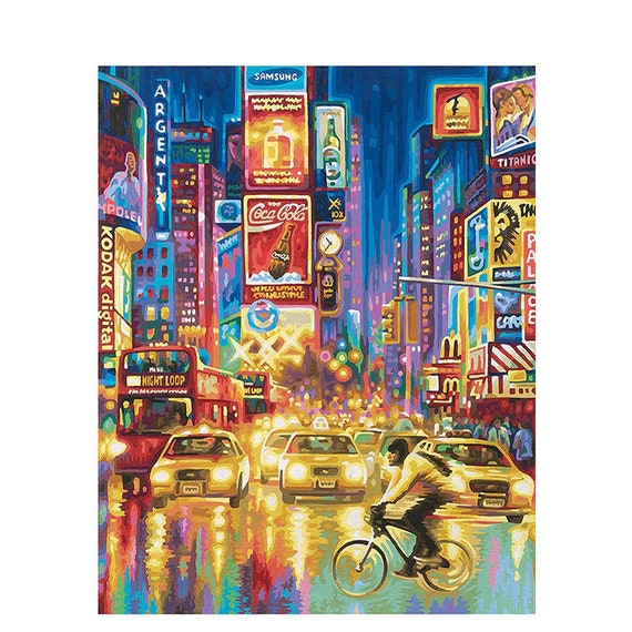 DIY Paint by Number Kit Acrylic Oil Painting Home wall Decor New York time square With wood Frame