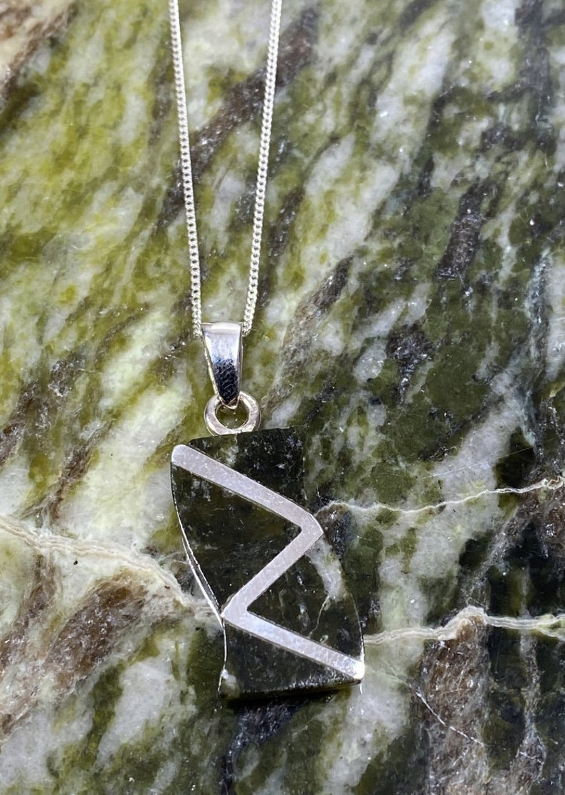 Connemara Marble Stone Set Sterling Silver Pendant.