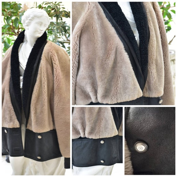 Vintage woman  leather shearling jacket. Real leat