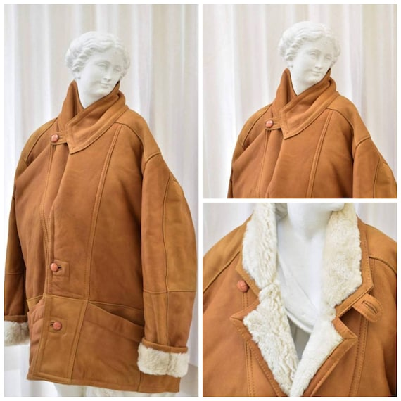 Vintage Shearling Jacket Sheepskin Brown. Shearlin
