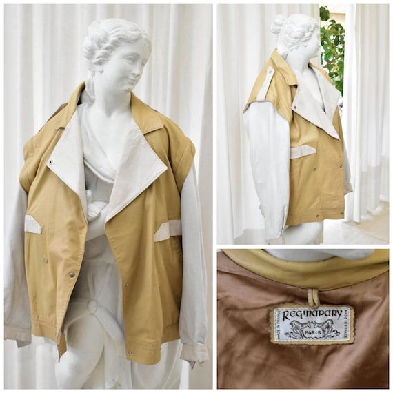Vintage (1980s) Beige-White Genuine Leather Jacket
