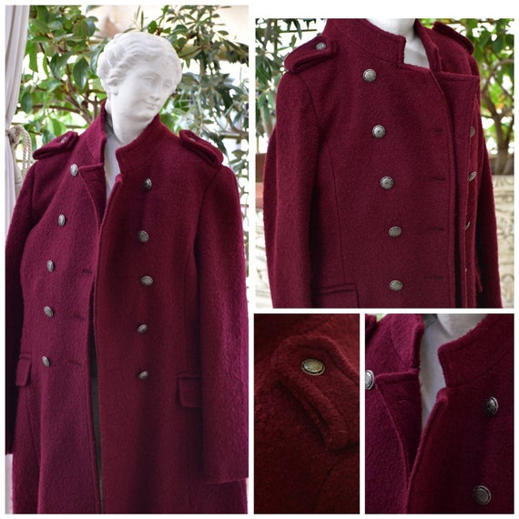 Vintage woman red coat. Military style coat. Long