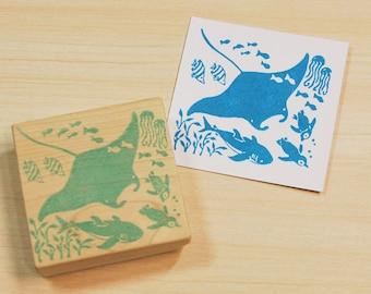 Devil Heart Rubber Stamp Mounted Wood Block Art Stamp
