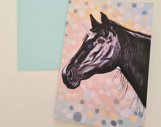 Greeting card 'Shadow' | Unicorn/horse portrait drawing