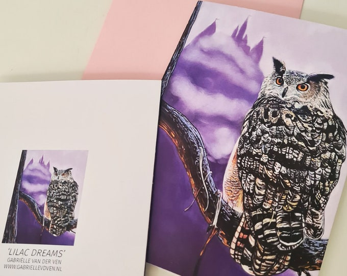 Greeting card 'Lilac Dreams' | Owl portrait pastel drawing