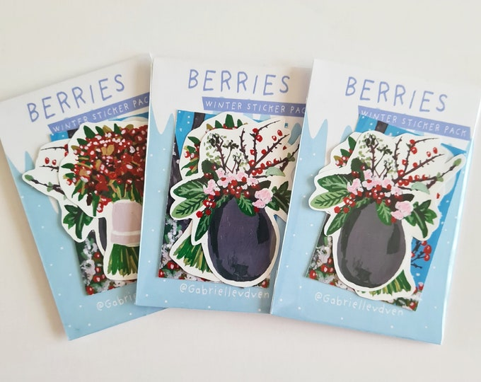 Winter berries sticker pack | Gouache painting stickers