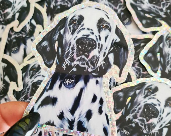 Glitter Dalmatian dog sticker | 'Spot' original drawing | Bullet Journal Stickers, Planner Stickers, Scrapbook Stickers, Decoration