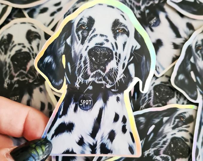Holographic Dalmatian dog sticker | 'Spot' original drawing | Bullet Journal Stickers, Planner Stickers, Scrapbook Stickers, Decoration