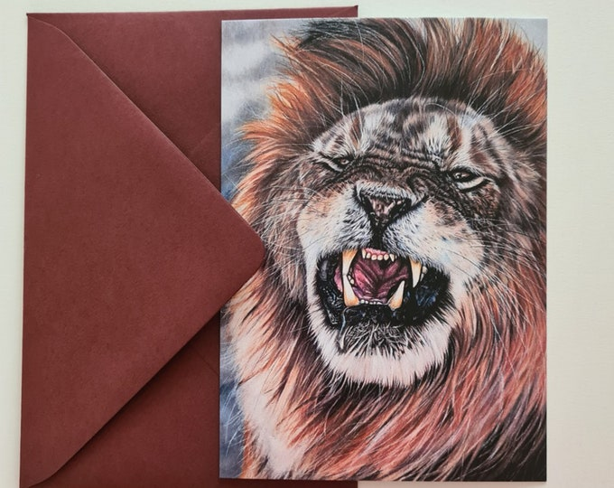 Greeting card | 'False Confidence' lion portrait drawing
