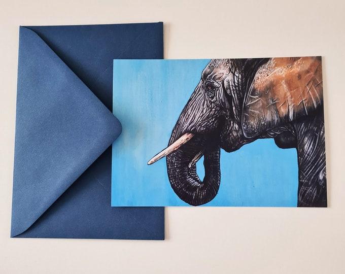 Greeting card 'Temper' | Elephant portrait drawing