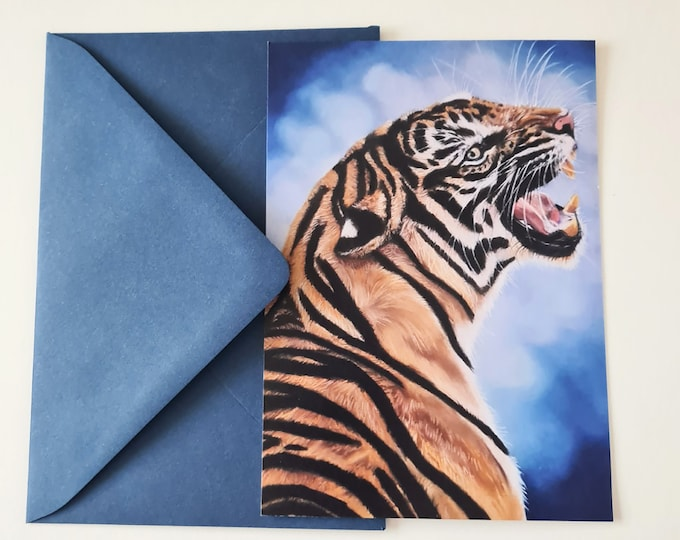 Greeting card 'Heavy heart' | Tiger portrait drawing