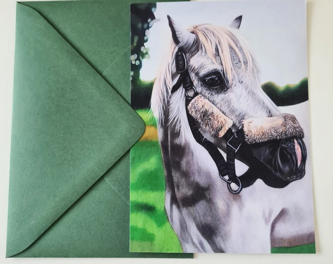 Greeting card | White horse portrait drawing