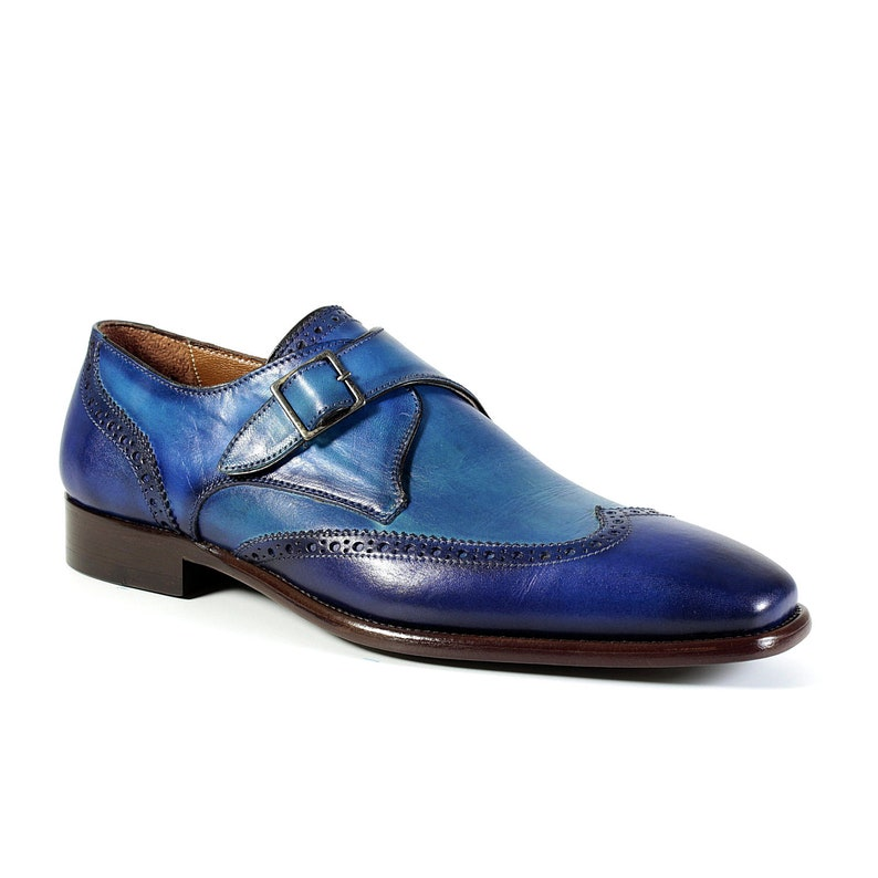 Blue Moon Monk Leather Men Dress Patina Shoes