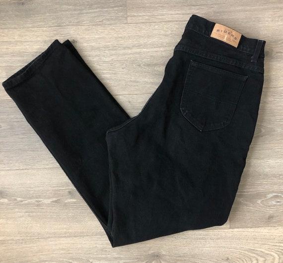 "Vintage Highrise Black Denim Riders Mom Jeans 34"""