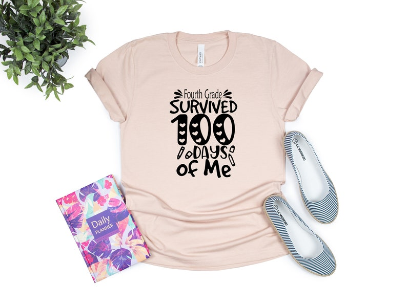 Fourth Grade Survived 100 Days Of Me Shirt Gift for 4th Student School Girl Boy Kid Children Grand Daughter Son Class Of Nine 9 10 Years Old