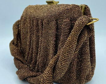 Vintage 30s/40s Du Bonnette Glass Bead Copper Colored Handbag-1930s or 1940s Signed Beaded Purse with Thick Braided Handle