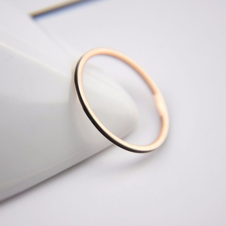 gift delicate unisex ring promise ring stackable Dainty gold and black ring stacking black and gold wedding band 1mm thin