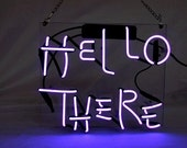 Handmade quot Hello There quot Real Glass Neon Sign Beer Bar Pub Club Light for Party Man Cave Home Wall Decor Art Birthday Gift
