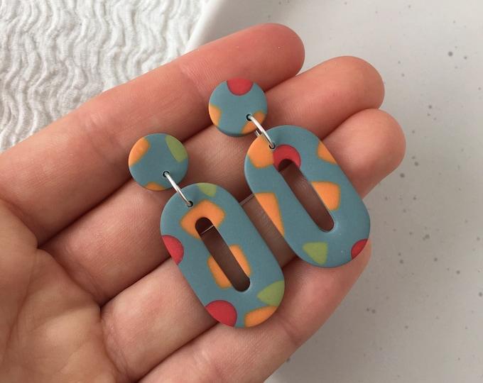 Retro Earrings 70s Earrings Funky Earrings Polymer Clay Earrings