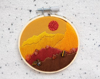 Embroidered planet landscape, planet Venus, embroidered space landscape, landscape embroidery, space enthusiast gifts, astronomy lover gifts