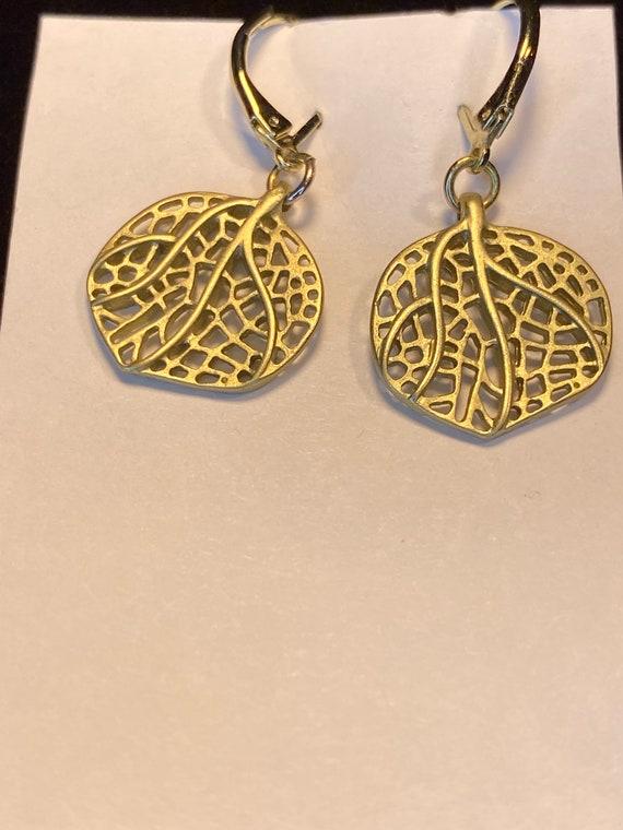 Gold Leaf Skeleton Tree of Life Earrings