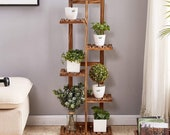 Wood Plant Stand, 5 Tier 6 Potted Plant Stand, Indoor Plant Ladder, Rustic Plant Shelf, Corner Plant Stand, Plant Pot Shelf plantstand092