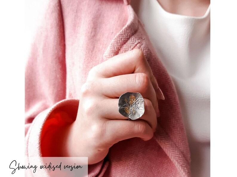 Large Rose Flower Ring Silver Boho Flower Ring Makes a Lovely Gift