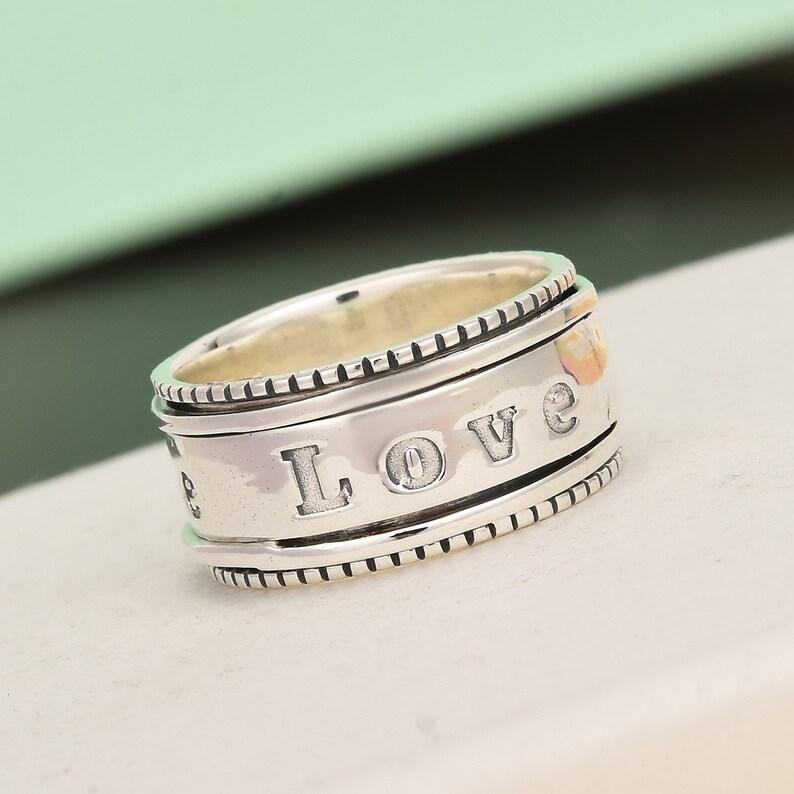 D/'Joy Artisan Handmade 925 Sterling Silver Love Band Ring for Her