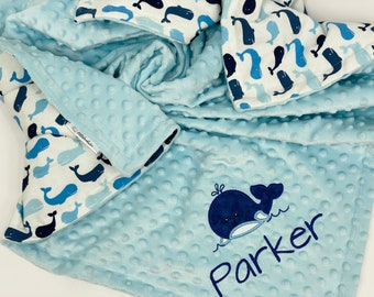 Custom Baby Blanket Baby Crab Blanket Minky Baby Navy Baby Gift Boy Sailor Nautical Blanket Name Baby Blanket Crab Baby Blanket
