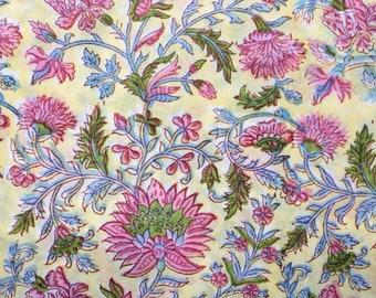 Yellow floral block print cotton fabric,100% pure natural handprint fabric,Beautiful kalamkari fabric,Cotton voile fabric,Indian block print