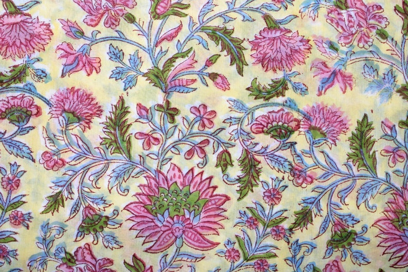 Yellow floral block print cotton fabric100% pure natural image 0
