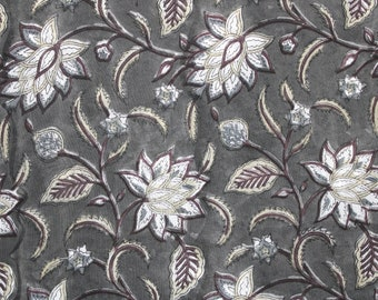 Floral block print cotton fabric,Kalamkari floral print,Curtain fabric,Upholstery fabric,Sweing pattern,Dress materials by yard | meter