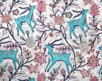 Animal block print cotton fabric,Indian handprint fabric,Cotton dress material,White cotton dupatta fabric,Deer block print,Kalamkari fabric