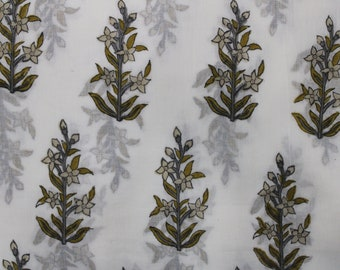 White cotton leaf block print,cotton fabric dress materials,natural block print fabric,cotton voile sheet,upholstery fabric,white canvas