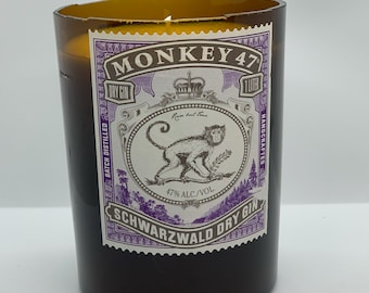 Recycled Monkey 47 upcycled cut gin bottle candle   Monkey 47 gin soy candle   one of one candle