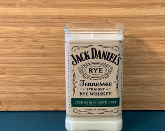 Recycled upcycled cut rye whiskey bottle candle   JD Tennessee straight rye whiskey soy candle