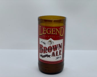 Legend brewing co brown ale bottle candle 100% soy wax candle