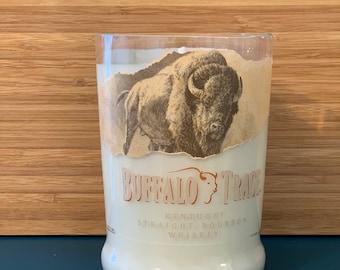 Recycled upcycled cut kentuckey straight bourbon whiskey bottle candle   buffalo whiskey soy candle