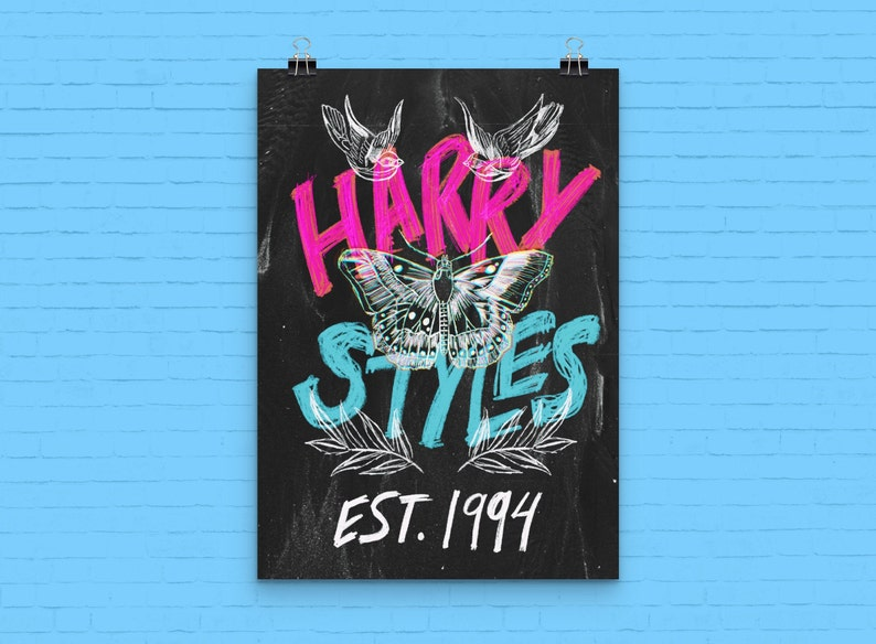 ferns butterfly Swallows moth The Harry Styles Tattoos 1994 Birthday Print Harry Styles Fine Line Merchandise