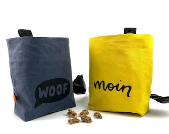 Dogs treat bag with feces bag dispenser from Dry Oilskin | self-designed sayings | Screen printing | Handmade