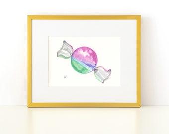 Watercolor Candy Emoji Print