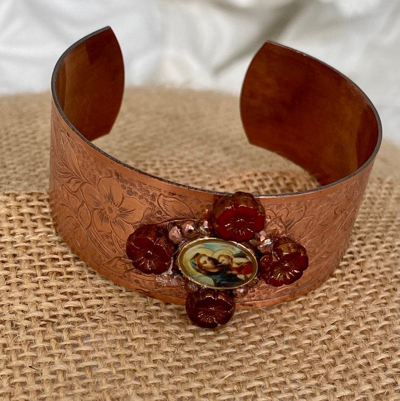 Virgin and Baby Jesus vintage copper cuff bracelet
