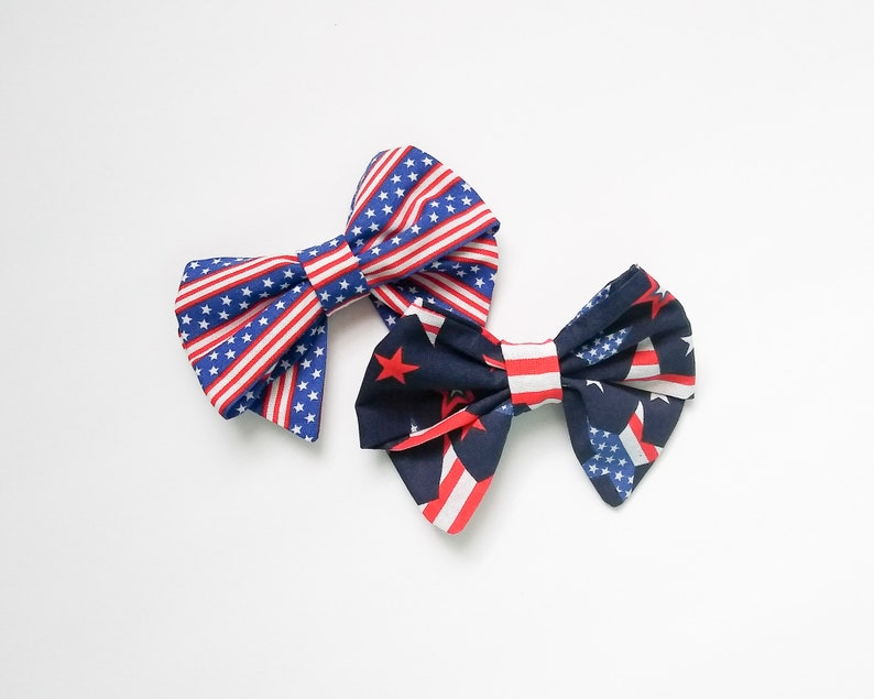 Dog Bow Pet Bowtie Independence day Dog bow slip-on pet bow Puppy Bow 4th of July Day Dog Bow Over the collar dog bow