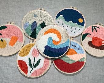 Yinrunx Punch Needle Embroidery Starter Kits Punch Needle Tool Threader Fabric Embroidery Hoop Yarn Rug Punch Needle