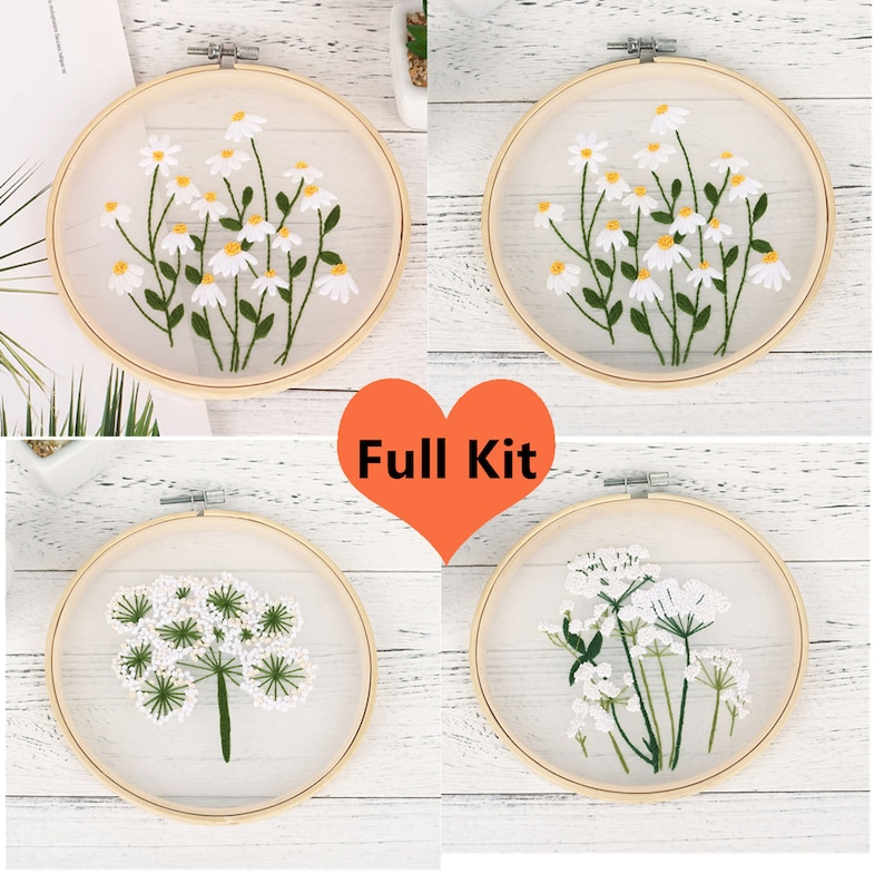 Transparent Embroidery kit for beginner,Cross Stich Kit,Hand Embroidery Full Kit,Starter Embroidery Kit,DIY Craft Gift Buy 2 Get 1 Free