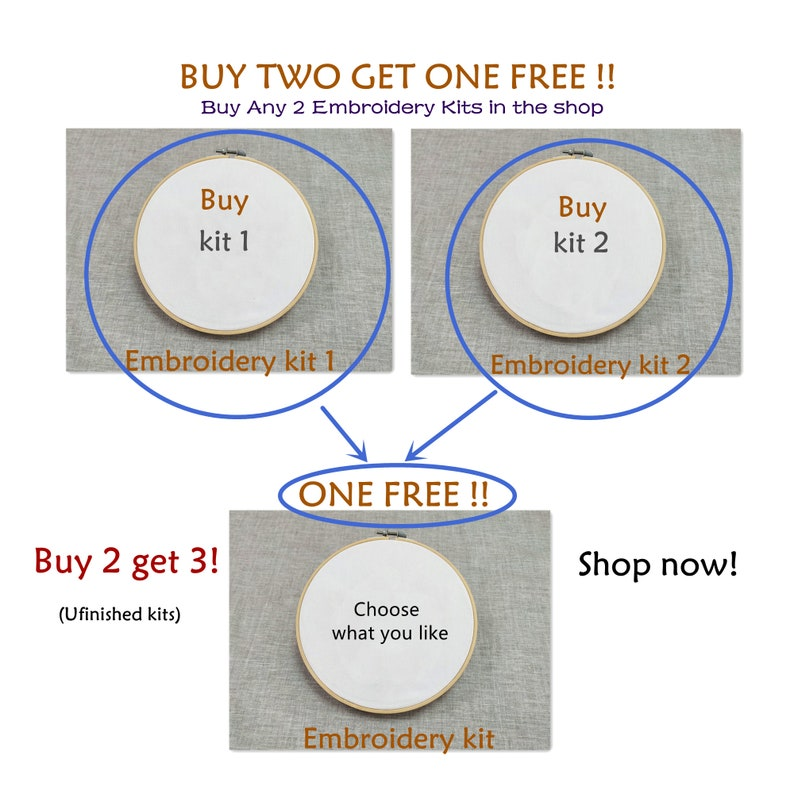 Buy 2 Get 1 Free Embroidery Starter Kit with Pattern and Instructions Stamped Embroidery Full Kits with Hoop Cross Stitch Set
