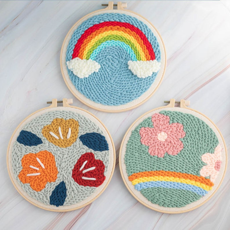 Punch Needle Beginner Kits Punch Needle Tool Threader Fabric Embroidery Hoop Yarn Rug Punch Needle Adults Kid/'s Hand Embroidery