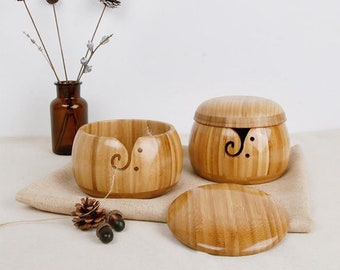 Bamboo Yarn Bowl Wooden Yarn Holder for Knitting and Crochet